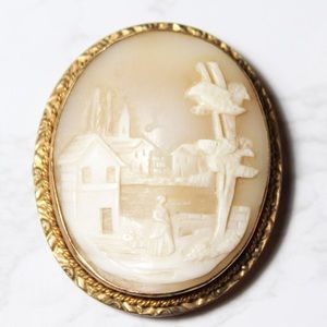 Vintage Scenic Woman Shell Cameo Brooch Pendant